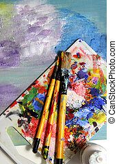 Art palette and mixing painting
