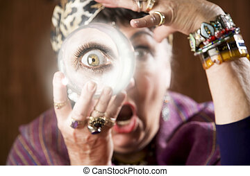 Gyspy with a crystal ball - Female gypsy fortune teller...