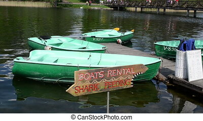 boat rent bridge people - TRAKAI, LITHUANIA - CIRCA MAY 2012...