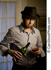 Young Man in a Fedora with Red Wine - Handsome Young Man...
