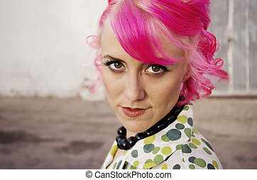 Woman with Pink Hair - Woman with pink hair in an alley