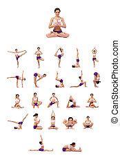 Practicing Yoga set. Young woman isolated on white...