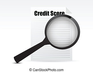 Credit Score and Magnifying Glass design over a white...