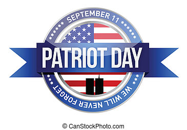 patriot day. us seal and banner illustration design