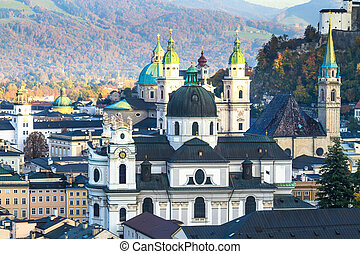 Salzburg Austria inner city with churches