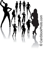 Fashion Woman Silhouettes - Vector woman silhouettes,...