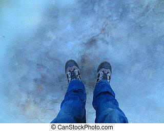 Feet on the ice