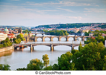Prague Bridges - view of Prague and its bridges crossing the...