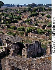 Roman city ruins, Ostia, Rome. - Overview of the ruined...