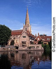 Church along River, Abingdon - River Thames and St Helens...