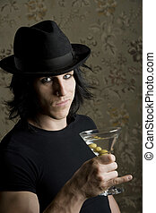 Young Man with a Martini - Young Man with a Dark Hat and...