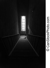 downward stairs - black white scene of downward perspective...