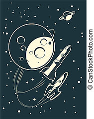 retro rocket in space with planets