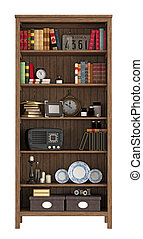 Vintage bookcase with books and objects isolated on white -...