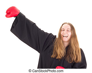 Young attorney with boxing gloves