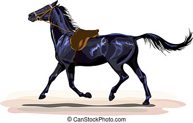 black horse trotting with saddle.
