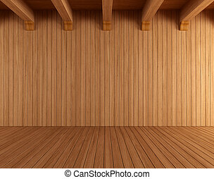 Empty wooden room with ceiling beams - rendering