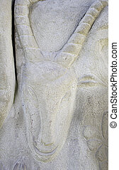 Billy Goat on stone carving, sculpture and ancient esoteric