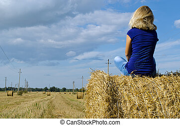 blond woman girl teen sit straw bale - blond girl teen sit...