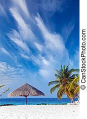 Sun-protection umbrella, beach, sea