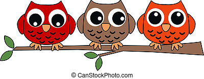 three sweet owls