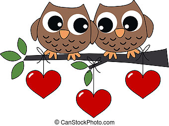 two sweet owls in love - valentines day or other celebration...