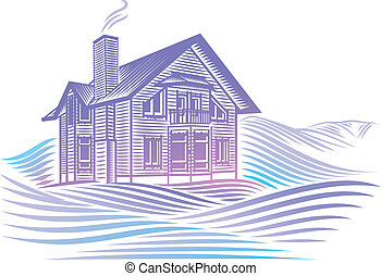 wooden country house in winter