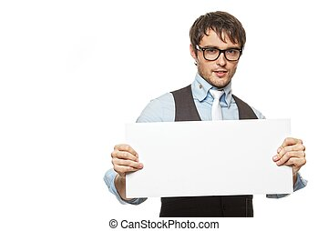 Young fashionable man with a blank sign.