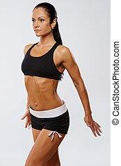 hermoso, Atleta, mujer, condición física,...