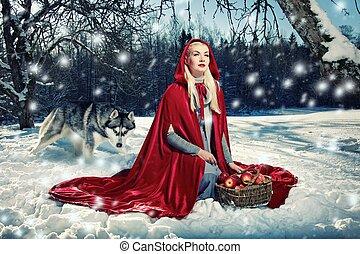 rojo, capucha, lobo, atrás, ella