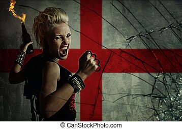 Punk girl with Molotov cockatail against England flag.
