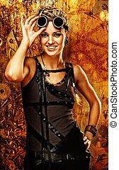 Steampunk girl over grunge background