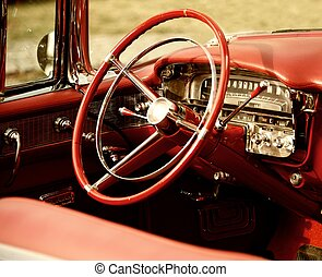 Retro, coche, interior