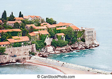 Island in Adriatic sea - Small island Sveti Stefan in...