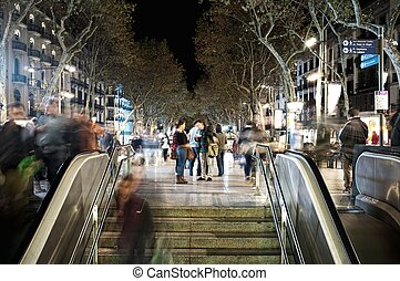 View of La Rambla in evening