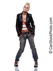 Punk girl wearing leather jacket