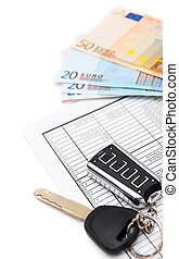 Keys from the car, money (euro) and documents.