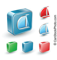 Computer buttons - Vector set of isometric computer buttons...