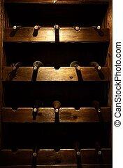 Stored wine bottles.