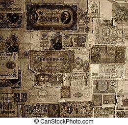 Vintage banknotes wallpaper.