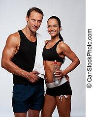 kvinna, atletisk, efter,  fitness, Övning,  man