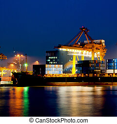 Container Cargo in twilight time
