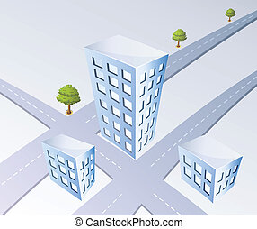Isometric projection of the city road and trees
