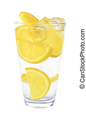 mineral water - sparkling mineral water with ice and lemon
