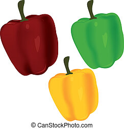 Sweet pepper. Tasty pepper. Set of pepper. Healthy food