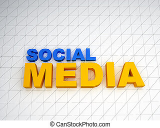 3d social media text on white background
