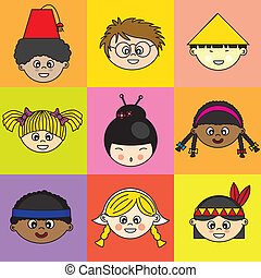 Children of different ethnicities. faces