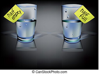 glass of water with inscription half full, half empty