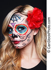 Beautiful Blonde Woman With Painted Sugar Skull Art -...