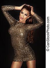 Wonderful girl wearing gorgeous shining dress - Photo of...